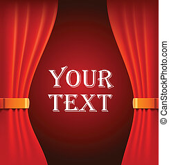 Red curtains with sample text - Red velum curtains...