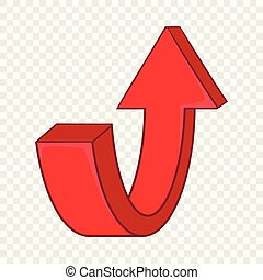 Red curved arrow icon, cartoon style