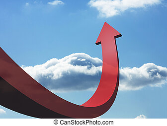 Red curved arrow pointing against sky