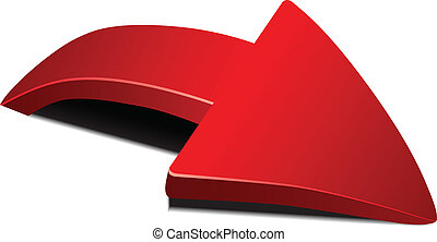 Red curved arrow with shadow volume. Vector illustration.