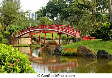 Red curved bridge and garden stream