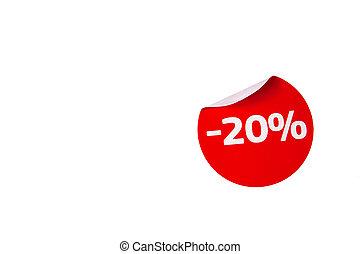 Red curved discount sticker.