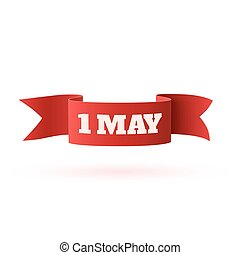 Red curved paper may banner.