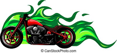 red custom motorcycle with flames vector illustration design