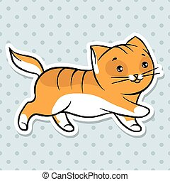 Red cute funny cat run. Vector illustration.