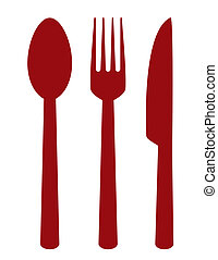 cutlery set - red cutlery set on white background