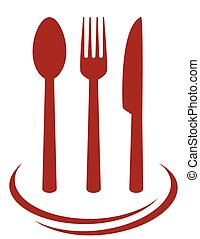 red cutlery set with decorative lines on white background