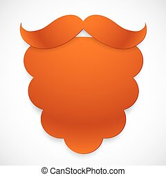 Red cutout paper vector beard with mustaches