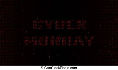 Red Cyber Monday on matrix code background 4K - Glowing red...