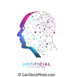 red, cybernetics, otro, máquina, learning., profundo, ai., vector, bandera, redes, símbolo, logotipo, tecnologías, neural, moderno, concept., robótica, inteligencia, artificial