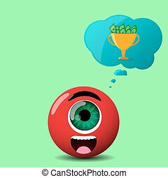 red cyclop character with speech cloud