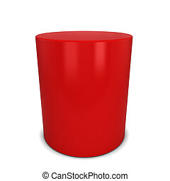 Red cylinder. 3d illustration isolated on white background