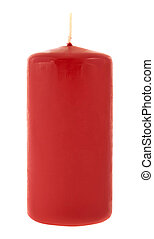Red cylindrical wax candle isolated over white background