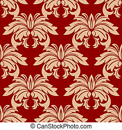 Red damask floral seamless pattern