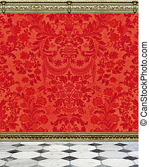 Red Damask Wall and Marble Floor
