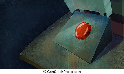 Red Dangerous Button on a Table.