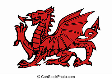Red Daragon of Wales - Isolated - The red dragon of Wales -...