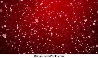 Red Dark Flowing valentine s heart bubbles on pink Loop 4K ...