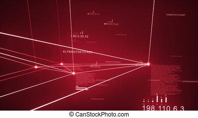 Red Dark Plexus Network Loopable - Computer Network,...