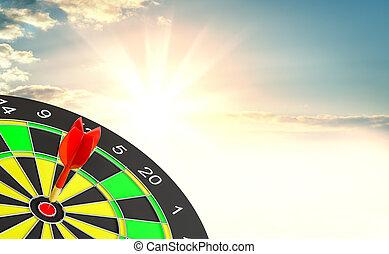 Red dart arrow hit target point center