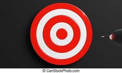 Red dart arrow hits target.Isolated on black background.3d animation.