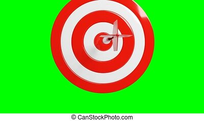 Red dart arrow hits target.Isolated on green chroma key.