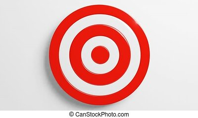 Red dart arrow hits target.Isolated on white background.3d animation.