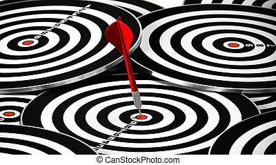 red dart hitting the center of a dartboard, there is may other targets around it