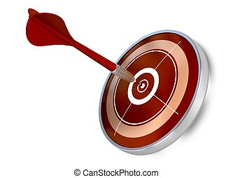 red dart hitting the center of a red target, white background, modern design