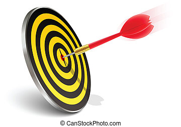 Red dart hitting the target on white