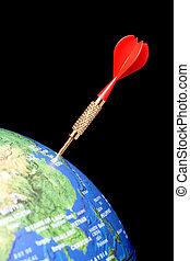 Red dart in a globe