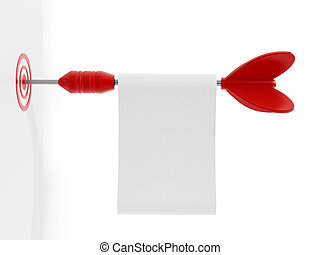 Red dart with a blank paper hits the target. 3D illustration