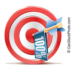 Red darts target aim and banner 100%