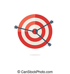 Red darts target on white background
