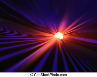 An abstract illustration of a red dawn sun flash sending light down a High Speed Grid.