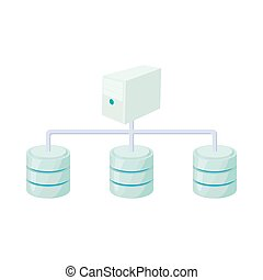 red de computadoras, base de datos, icono, caricatura, estilo