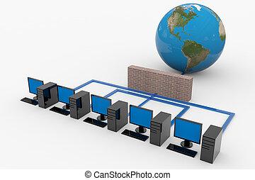 red de computadoras, con, servidor, y, cortafuegos