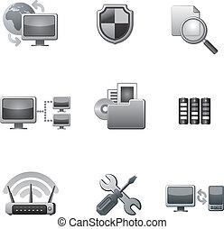 red de computadoras, icono, conjunto