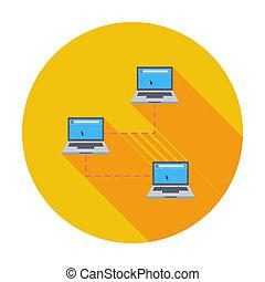 red de computadoras, solo, icon.