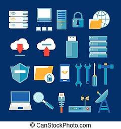 red de computadoras, y, base de datos, plano, icono