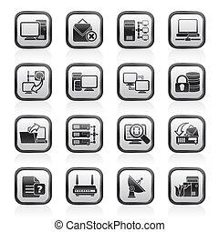 red de computadoras, y, iconos del internet