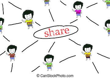 red de información, compartir, gente, el bosquejar, concepto