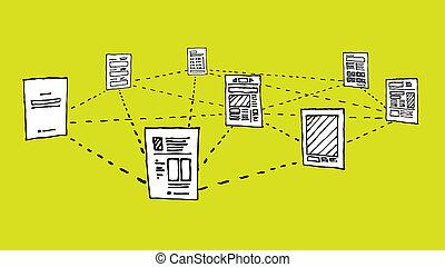 red de información, intercambio, /, documento, datos