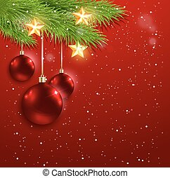 Red decorations and golden stars
