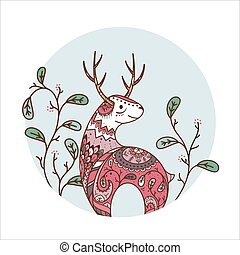 Red deer with flowers