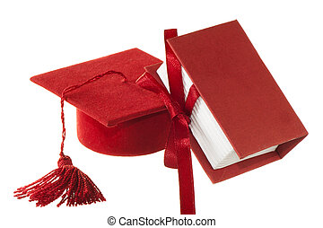 red degree favors on a white background