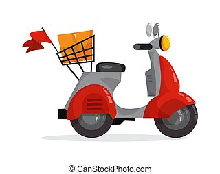 Red deivery service moped for courier. Scooter