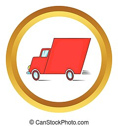 Red delivery car vector icon