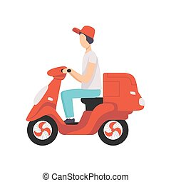 Red delivery motor bike with courier, express delivery concept vector Illustration on a white background