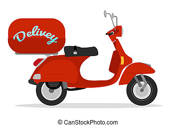 red delivery scooter